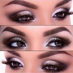 Make em tons claros: branco, bege e marrom. Realça olhos castanhos.