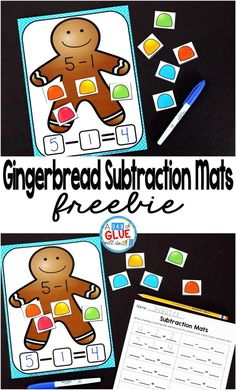 Gingerbread Subtraction Mats are the perfect addition to your math centers this Christmas holiday season. This free printable is perfect for kindergarten, first grade, and second grade students.