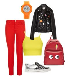 Lightning McQueen inspired outfit. | Car's characters reimagined as fashionable women. | Lightning McQueen Disneybound inspiration. | [ http://blogs.disney.com/disney-style/fashion/2016/03/09/if-cars-were-people-this-is-what-theyd-wear/ ]