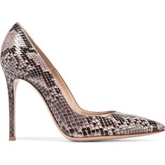Gianvito Rossi 105 python pumps (1,685 PEN) ❤ liked on Polyvore featuring shoes, pumps, heels, обувь, grey pointed toe pumps, white high heel shoes, white slip on shoes, white heel pumps and white shoes