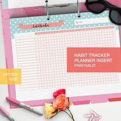 Habit tracker in pdf printable planner insert! A nice and cute habit chart to keep track of habits, perfect for your planner or bullet journal  #personalplanner #habittracker #plannerpage #selfcare #planner