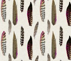 Luxe Feathers in Plum Bespoke fabric and wallpaper by Sparrowsong on Spoonflower