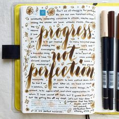 progress, not perfection ✨ #letteritjuly #journal #artjournal #hobonichi #planner #diary #notebook #filofax #mtn #midori #scrapbooking #stationery #pens #doodles #doodling #type #typography #letters...