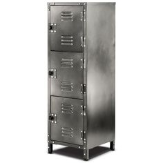 This 3 door steel locker adds a touch of industrial urban chic and practical storage to any room in the house, apartment office or garage. The heavy gauge steel is finished with a vintage galvanized l Storage Bins, Locker Storage, Bath Storage, Armoire, Door Locker, Steel Locker, Industrial Style, Industrial Boys Rooms, Industrial Storage