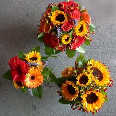 late summer flowers for weddings | Late summer sunflower mixed color calgary wedding and bridal bouquets ...