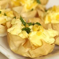 Scrambled Eggs in Phyllo Baskets