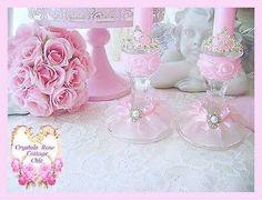 Shabby Pink Princess Crown Candle Holders Rhinestone Tiara Bridal Romantic Decor