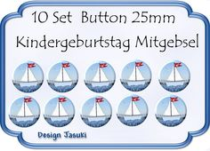 10 Set Button Segelschiff,Geburtstag Mitgebsel von Jasuki auf DaWanda.com