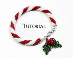 Beading Tutorial Bracelet Pattern Christmas Beadwork Seed Bead Crochet Stitching DIY Step by Step Instruction Gift Holiday Candy Cane Holly – Diy Bracelets İdeas. Seed Bead Bracelets Tutorials, Beaded Bracelets Tutorial, Diy Bracelets Easy, Beading Tutorials, Bracelet Patterns, Beading Ideas, Beading Projects, Necklace Tutorial, Earring Tutorial