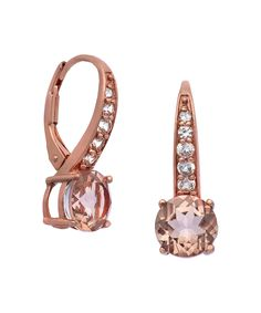 Jenne Morganite Quartz & Rose Goldtone Huggie Earrings | zulily -  $38.99 $125.00 Product Description:  A channel of white sapphire leads the way to the rosy core of this vintage pair.      7 mm W x 12 mm L     Rose goldtone- and rhodium-plated sterling silver / morganite quartz / lab-created white sapphire     Imported
