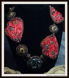 Metamorphosis Shibori Bead Embroidered Necklace by 4uidzne on Etsy, $395.00