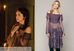 Mary Queen of Scots (Adelaide Kane) wears this semi-sheer, off the shoulder maxi top with beautifully detailed embroidering and removable st...