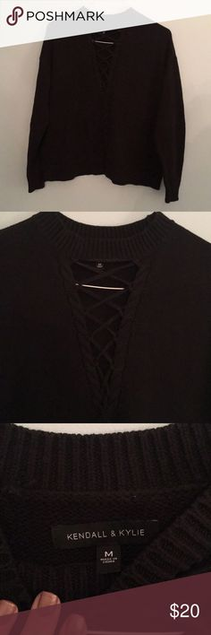 Kendall & Kylie lace up black sweater Size M! Great condition Kendall & Kylie Sweaters