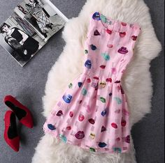 """Item Type: Dress Material: Organza Sleeve Length: Sleeveless Collar: Round Neck Pattern: Lips Style: Fashion Color: White, Pink, Light Blue Size: XS (US Size) Bust: 31-33"""", Waist: 23-25"""", Hips: 33-35"""""""