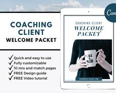 Ad: Welcome Packet Template by ProductiveandFree on Welcome Packet Template for Coaching Clients - Set of 10 Pages in Canva Format Calling all coaches and strategists: What do you do once a Welcome Packet, Signed Contract, Goals Planner, Important Dates, Cover Pages, Printable Planner, Coaching, How Are You Feeling, Social Media