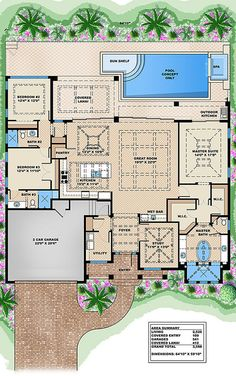 Aluminium and Wooden Greenhouses – Greenhouse Design Ideas Florida House Plans, New House Plans, Dream House Plans, Florida Home, House Floor Plans, My Dream Home, House Plans With Pool, West Indies Style, House Blueprints