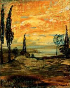 Naplemente itáliai tájban Sunset in Italian landscape by LajosGulácsy Global Art, Art Market, Art World, Art Inspo, Street Art, Past, Art Gallery, Colourful Art, Paul Klee