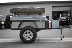 Chaser Adventure Trailer When that popup trailer with the little doughnut tires doesn't get you where you need to be…….Check out the video to see this trailer in action. Off Road Teardrop Trailer, Bug Out Trailer, Off Road Camper Trailer, Trailer Tires, Tent Campers, Trailer Plans, Trailer Build, Camper Trailers, Expedition Trailer