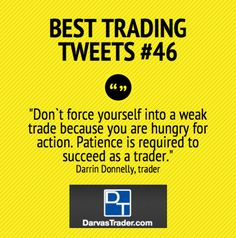 Best Trading Tweets #46: Patient Is Required For Successful Trading by Darrin Donnelly Investing Money, Value Investing, Investing In Stocks, Finance, Trading Quotes, Trade Books, Stock Market Quotes, Business Money, B & B