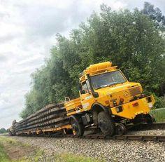 Railroad Unimog in action.