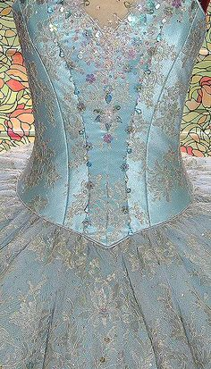pale blue satin tutu bodice, overlaid with lace and beaded with crystal drops