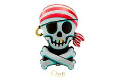 29 Jolly Roger foil balloon  pirate theme party decor by cheersnco