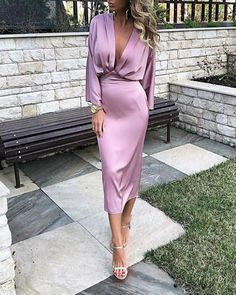 Women Elegant Solid Plunge Ruched Tight Waist Satin Dress Long Sleeve Midi Dress Sexy Night Club Party Dresses Office Robe Femme, Lavender / S Satin Dresses, Elegant Dresses, Sexy Dresses, Evening Dresses, Fashion Dresses, Summer Dresses, Formal Dresses, Wedding Dresses, Pagent Dresses