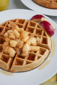 Whole Wheat Hazelnut Waffles with Cinnamon Sautéed Apples | Hip Foodie Mom