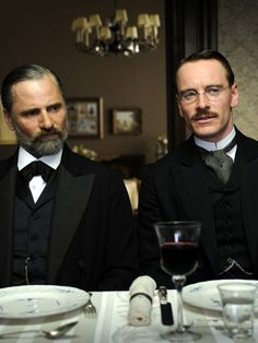 Michael Fassbender & Viggo Mortensen in A Dangerous Method (2011) - directed by David Cronenberg (Two of my most favorite actors).