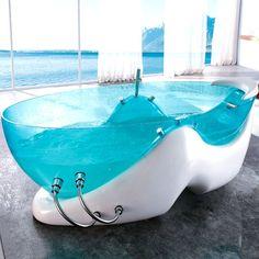 LOVE THIS transparent bathtub!