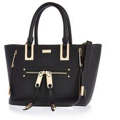 River Island Black mini zip winged tote handbag ($50) ❤ liked on Polyvore featuring bags, handbags, tote bags, black, structured tote, wing tote, structured tote bag, black tote bag and zip top tote