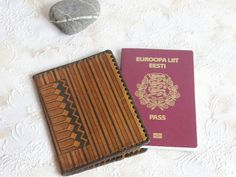 Soviet leather passport cover. Brown tan distressed 1960's accessory covers by SovietDreams on Etsy, $11.00