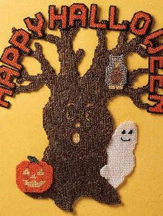 Plastic Canvas - Holidays - Season's Greetings - Halloween Tree