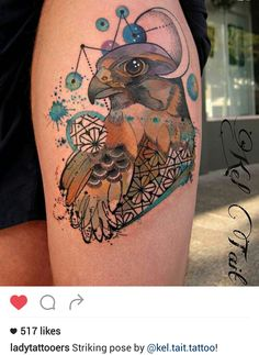 Falcon tattoo by @kel.tait.tattoo  Watercolor done right! Most important details are outlined in black to prevent spreading and fading