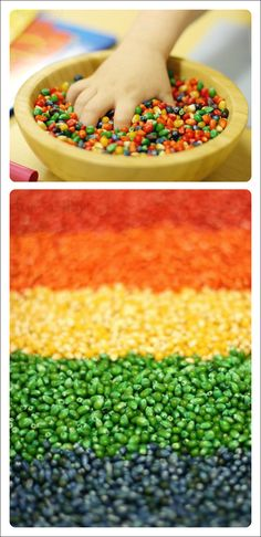 Colorful dyed corn for art and sensory play!
