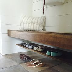 Floating Shoe Shelf in mudroom. This mudroom was once a hallway closet! Shoe Shelf In Closet, Closet Bench, Bench With Shoe Storage, Bench Mudroom, Garage Bench, Entryway Shoe Bench, Front Closet, Hallway Closet, Closet Space