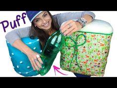 DIY: PUFF de Garrafa Pet e Papelão - YouTube Plastic Bottle Crafts, Plastic Bottles, Diy Puffs, Pet Bottle, Kawaii, Youtube, Quick Crafts, Vase Ideas, Pop Tabs