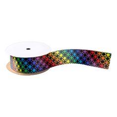 Rainbow and Black Squares and Polka Dots Satin Ribbon
