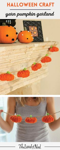halloween yarn pumpkin garland - Quick Halloween Decorations