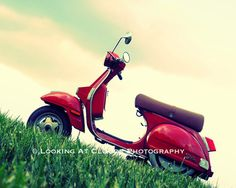 Stella Vespa whimsical scooter art photo red by LookingAtClouds, $25.00