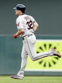 Cleveland Indians' Jay Bruce rounds the bases on his solo home run off Minnesota Twins pitcher Aaron Slegers during the fourth inning of the second game of a doubleheader Thursday, Aug. 17, 2017, in Minneapolis. (AP Photo/Jim Mone). Indians won game one of the doubleheader as the Twins took game two.