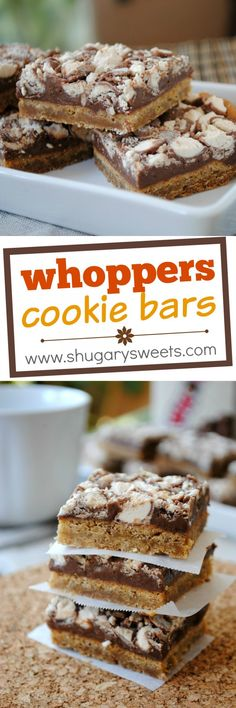 Whopper Cookie Bars: chewy malted milk cookie crust with a layer of fudge and crushed whopper candies!