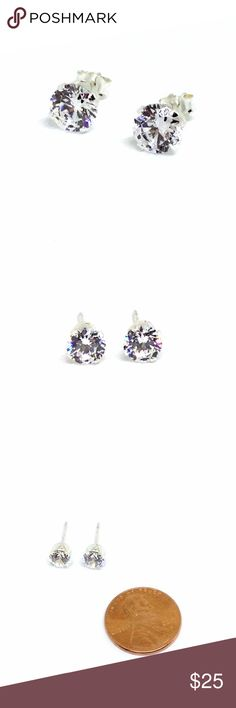 *SALE* Earrings CZ Studs Gorgeous!! Earring pair with cubic zirconias prong set in sterling silver. Clear faceted rounds are 6mm. For pierced ears. Like new condition. Earring posts and backings are stamped '925'. Total weight 1.1 grams. Dazzling! #dainty Vintage Jewelry Earrings