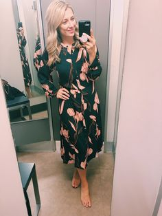 ShopStyle Look by thelovelyk featuring A New Day Women's Floral Print Long Sleeve Collared Midi Shirtdress - A New DayTM Olive Long Sleeve Midi Dress, Floral Midi Dress, Target Clothes, Target Outfits, Day Dresses, Summer Dresses, Green Shirt Dress, Fall Sweaters, Affordable Fashion