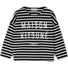 Maison Kitsuné Long Sleeve T-Shirt ($165) ❤ liked on Polyvore featuring tops, t-shirts, black, long sleeve cotton t shirts, stripe t shirt, embroidered t shirts, cotton jersey and cotton logo t shirts
