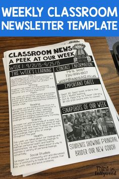 Back to school night Weekly Newsletter Templates-- Makes home communication a BREEZE! Weekly Classroom Newsletter, Classroom Newsletter Template, Newsletter Templates, Newsletter Ideas, Teacher Newsletter, Kindergarten Newsletter, 4th Grade Classroom, Kindergarten Classroom, Classroom Activities