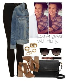 """Los Angeles with Harry."" by welove1 ❤ liked on Polyvore featuring Topshop, Kate Spade, Alice + Olivia, rag & bone, Chinese Laundry, Ray-Ban and Apt. 9"