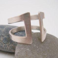 Silver Ring Modern Open Gap Design by backbonejewelry on Etsy, $70.00