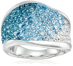 Sterling Silver Blue Wave Shape with Swarovski Elements Ring, Size 7 Amazon Collection-$52.00 http://www.amazon.com