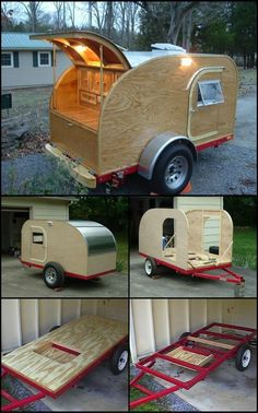 How To Build A Teardrop Trailer theownerbuilderne. If you love the idea of your own camper trailer, but don't like the price tag, you could always build your own. Take this Teardrop Trailer measuring which can accommodate two people for sleep Teardrop Trailer Interior, Building A Teardrop Trailer, Teardrop Trailer Plans, Diy Camper Trailer, Tiny Camper, Off Road Trailer, Trailer Build, Camping Trailer Diy, Build A Camper